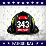 Vector Illustration of  Patriot day background. Fireman helmet and text on white background Royalty Free Stock Images