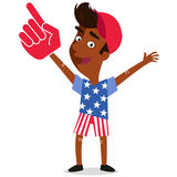 Vector illustration of patriotic American Fan supporting team USA wearing foam hand and clothes with stars and stripes Stock Photos