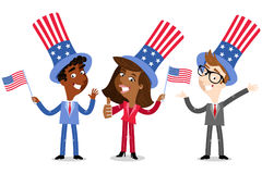 Vector illustration of patriotic cartoon American business people wearing stars and stripes hats celebrating Fourth of July Stock Images