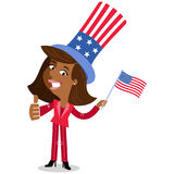 Vector illustration of patriotic cartoon American business woman wearing stars and stripes hat thumbs up Fourth of July Royalty Free Stock Images