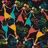 Vector illustration pattern dancing women Stock Photo