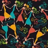 Vector illustration pattern dancing women Stock Photo