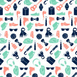 Vector illustration pattern of fashion accessories and men clothing style Royalty Free Stock Image