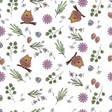 Vector illustration of pattern with flowers, leaves, owls. stock illustration