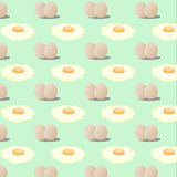 Vector illustration pattern of fried eggs Royalty Free Stock Photos
