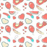 Vector illustration. Pattern of hand drawn hearts in doodle style. vector illustration