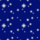 Vector illustration pattern of a starry night. Vector illustration pattern of a nights sky with bright stars of different sizes Royalty Free Stock Photo