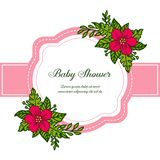 Vector illustration pattern red flower frame for invitation card baby shower vector illustration