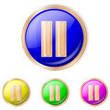 Vector illustration of pause button. Pause Sphere Icon. Set of buttons in different colors royalty free illustration