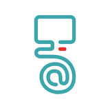 Vector illustration of PC and e-mail icon. Royalty Free Stock Images