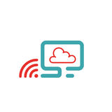 Vector illustration of PC , wlan icon and cloud computing. Stock Image