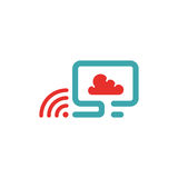 Vector illustration of PC , wlan icon and cloud computing. Royalty Free Stock Images
