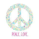 Vector illustration of peace sign on blue background. Template for International Peace Day. Stock Photos