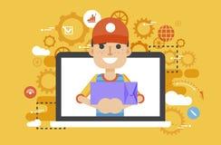 Vector illustration peddler parcels carrier man packaging box in hand design, element for delivery service business Stock Image