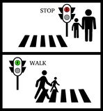 Crosswalk, Stop, Pedestrain and traffic lights on a white background royalty free illustration