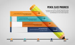 Pencil Slice Progress Infographic Royalty Free Stock Images