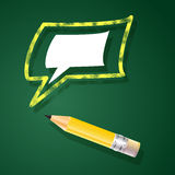 Vector illustration with pencil and speech bubble. Royalty Free Stock Photos