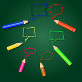 Vector illustration with pencils and speech bubbles. Stock Images