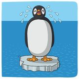 Penguin crying for climate change stock illustration