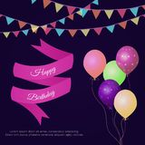 Vector illustration with pennants, confetti, balloons, ribbon and text Happy Birthday. royalty free stock images