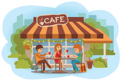 Vector illustration of people at the cafe outdoor. Men and woman sitting in the cafe, outdoor while drinking hot coffee. Three students friends talking friendly vector illustration