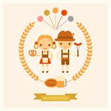 Vector illustration of people on celebrations of Oktoberfest. Vector cartoon illustration of people on celebrations of Oktoberfest Stock Photos