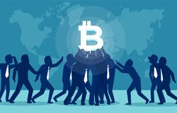 People craving for bitcoin currency stock illustration