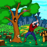 Vector illustration `People destroy nature`. Vector illustration of a person destroying a living nature Royalty Free Stock Photo