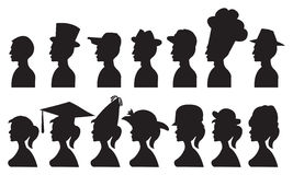 Vector Illustration of People in Different Hats Royalty Free Stock Image