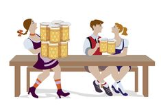 People in traditional Octoberfest costumein flat design. Vector illustration of people drinking beer and woman holding a lot of beer mugs. They are wearing in Stock Photography