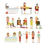 Group of people enjoying spa procedures vector flat icon set. Vector illustration of people enjoying relaxing massages, warming body wraps, aroma bath procedures Stock Photography