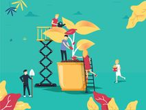 Vector illustration. people grow plants in pots. phytomodule for stock illustration