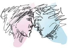Sketch of couple faces Royalty Free Stock Images