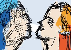 Sketch of couple faces Royalty Free Stock Photography