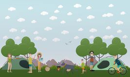 Tourists making a camp vector illustration in flat style stock illustration