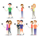 Vector illustration of people making selfie. Stock Photos