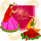 People performing Garba dance on poster banner design for Dandiya Night Royalty Free Stock Photography