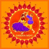 People performing Garba dance on poster banner design for Dandiya Night Stock Photos