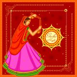 People performing Garba dance on poster banner design for Dandiya Night Stock Image