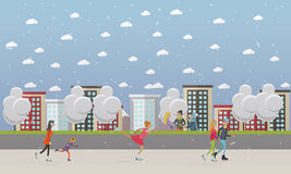 Vector illustration of people skating at ice rink, flat style. Vector illustration of people skating at ice rink. Cartoon characters, cityscape. Winter sports Stock Photography