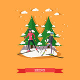 Vector illustration of people skiing in flat design Royalty Free Stock Photography