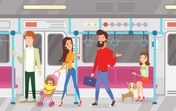 Vector illustration of people in subway underground train. Interior of subway with commuting passengers, sitting and royalty free illustration