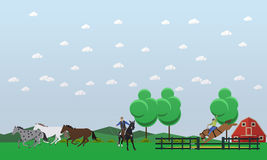 Vector illustration of people taming wild horses near horse farm. Cowboy riding horse and throwing lasso. Men taming wild horses near farm. Wild West characters Royalty Free Stock Photography