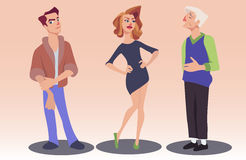 Vector illustration of people with various facial expressions. Vector illustration of woman and two men with different facial expressions. Cartoon young man and Stock Image