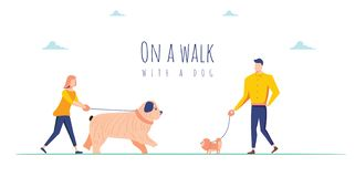 Vector illustration with people on a walk with a dogs. Use in Web Project and Applications. Cute characters with dogs stock illustration