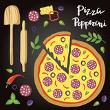 Vector illustration of Pepperoni Pizza with ingredients. Stock Photo