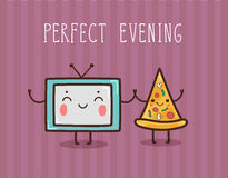 Vector illustration - Perfect evening. Vector hand draw illustration - perfect evening Stock Photos