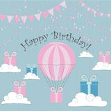 Vector Illustration. Perfect to Birthday cards, postcards, stickers, labels, banners, posters and other things hith balloon and gi. Ft boxes in pink and blue royalty free illustration
