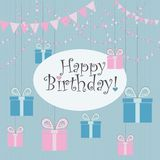Vector Illustration. Perfect to Birthday cards, postcards, stickers, labels, banners, posters and other things with party garland,. Flags and gift boxes in pink royalty free illustration