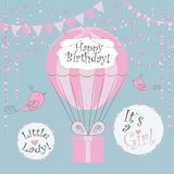 Vector Illustration. Perfect to newborn Birthday cards, postcards, stickers, labels, banners, posters and other things with balloo. N and gift box in pink and stock illustration
